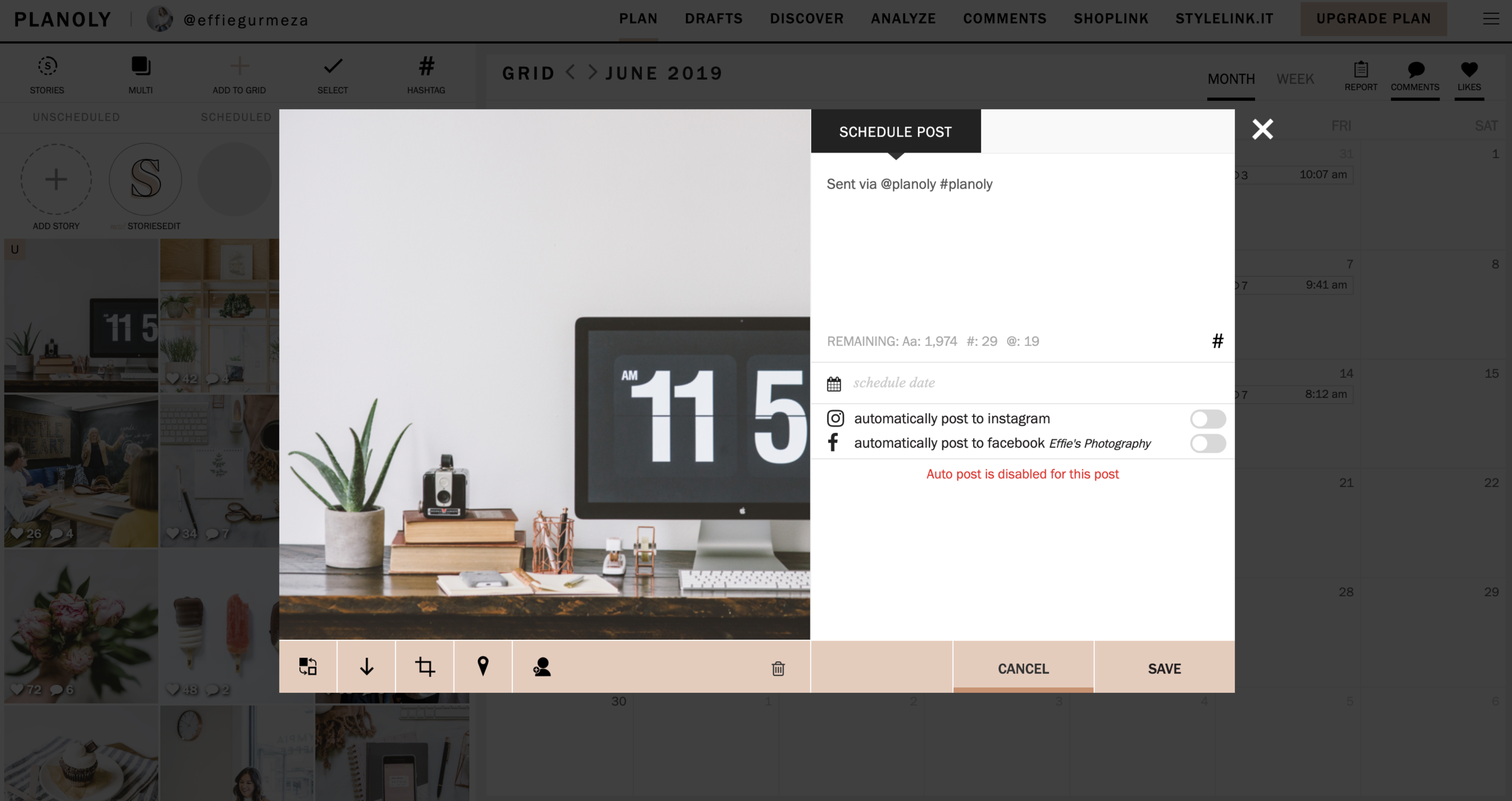 """To plan your caption and schedule your post, just click on the photo in the grid. Write your post (where it says """"sent via @planoly #planoly"""")."""