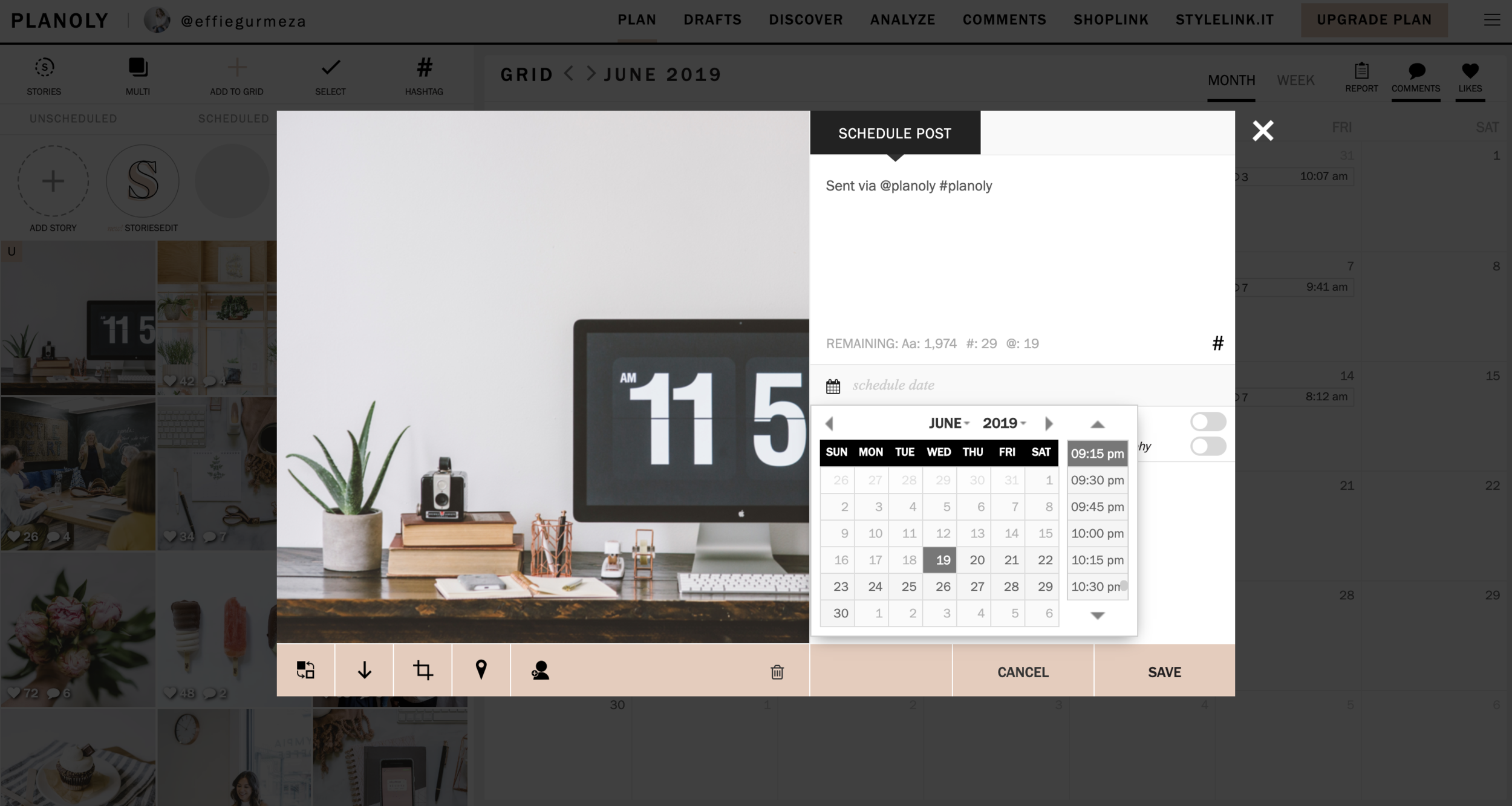 """To schedule and save your post you can click the calendar icon """"schedule date."""" You also have the option here to automatically post to Instagram and automatically toggle to Facebook (if you are on a business account only). Then click """"save."""""""