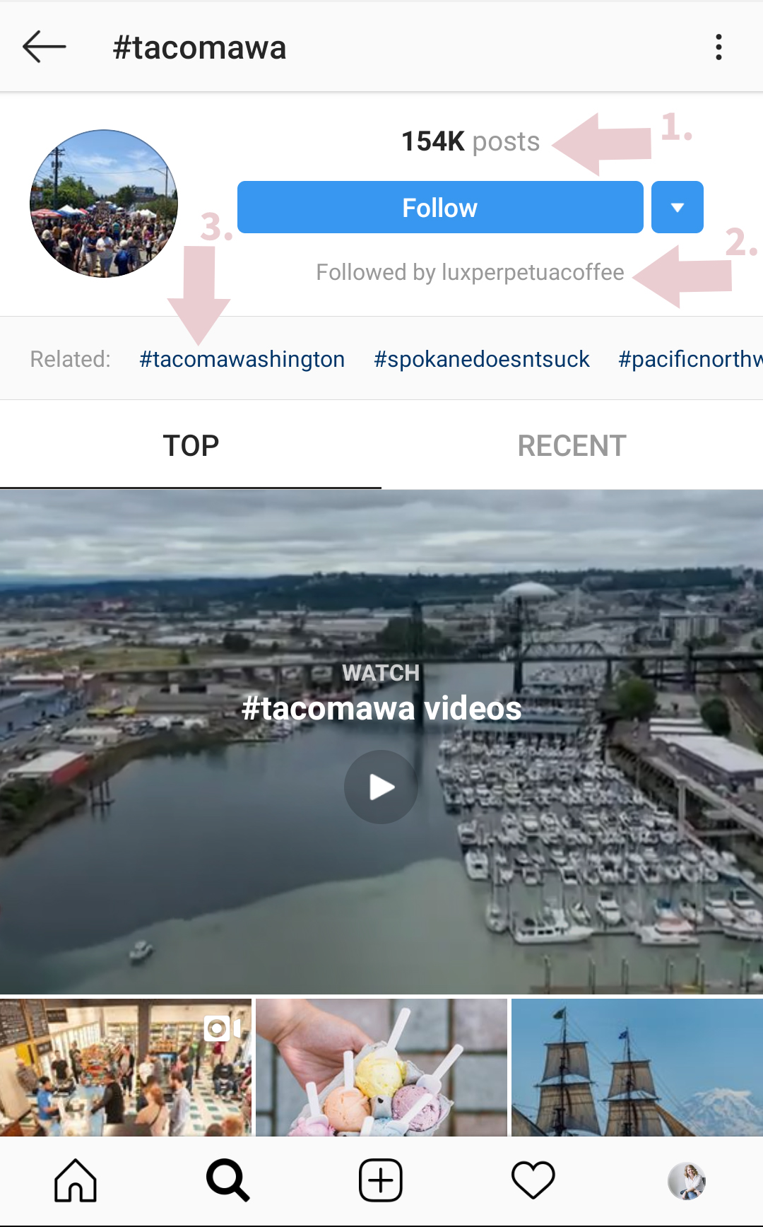 - Screenshot on the left corresponds with point 4 from above.1. How many posts are hashtagged with #tacomawa.2. People you are following who also follow this hashtag.3. Related hashtags that you can click on.