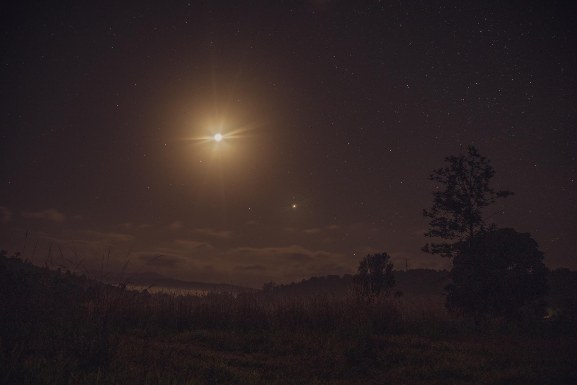 Midnight landscape. Misty Mountain, Australia.