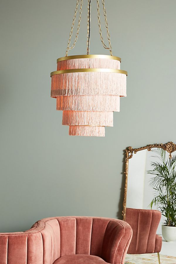 Go bold! Beautiful elegence combined with the brass. Amazing for a hallway. Aloha Fringe Chandelier @ Anthropologie £348