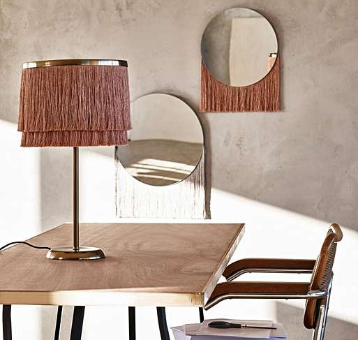 Blush Lamp £115 & Nappa Mirror £24 @ Oliver Bonas. Scour for stock mainly sold out! Also in grey.