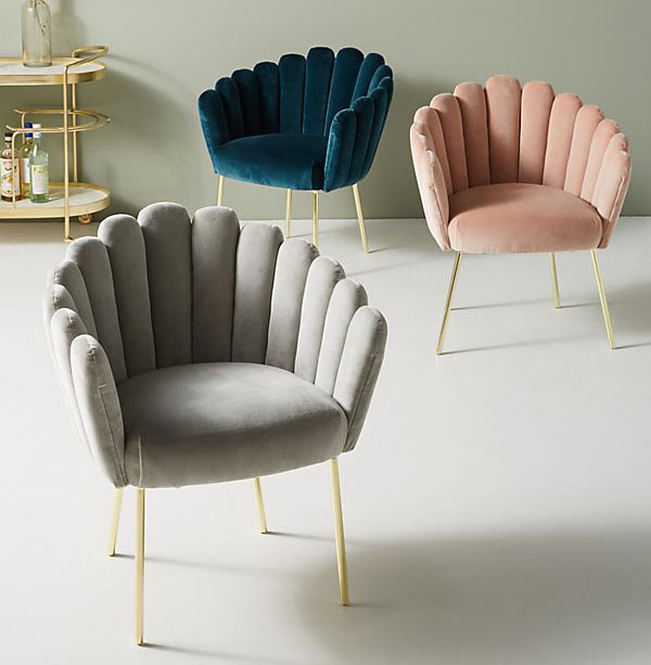 Adore an accent chair, particularly in velvet. The Shell Chair is big on the scene and pairs beautifully with deco schemes. Bethan Gray @ Anthropologie £598
