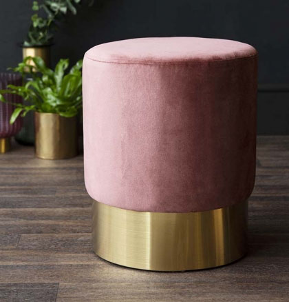 Add a beautiful statement foot stool. Love the contrast on this. Blush Pink Stool @Rockett St George £95