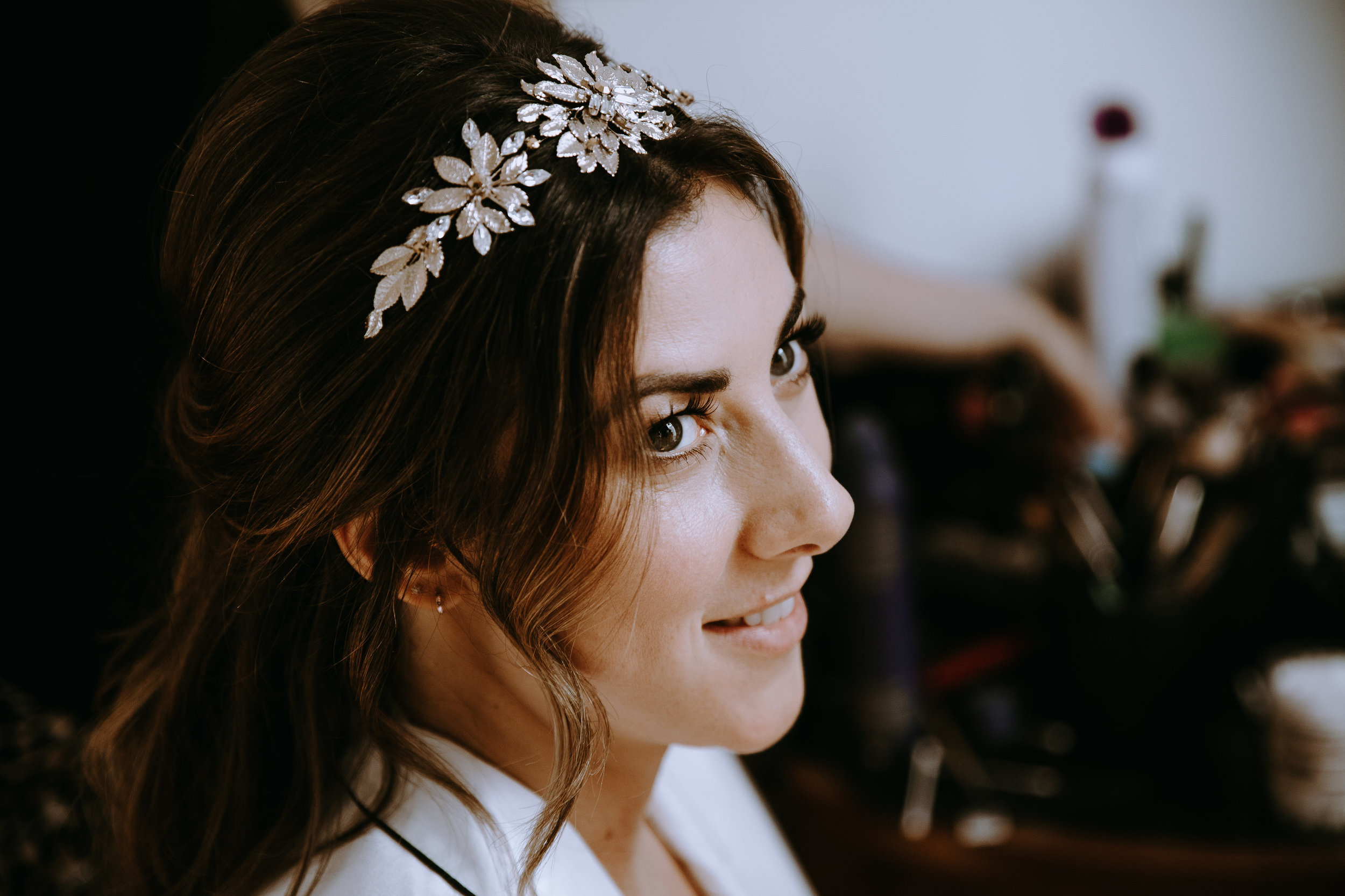 Tilly Thomas Lux Headpiece for a real wedding | Image by Fiona Clair