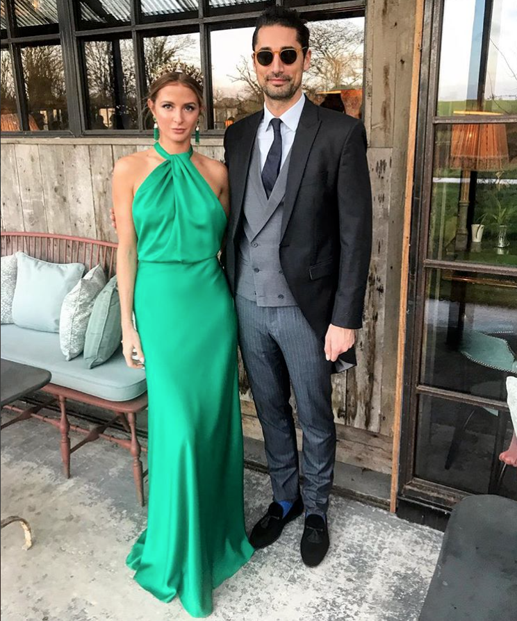 Millie Mackintosh wears a crown by Tilly Thomas Lux and an Emerald dress by Halfpenny London