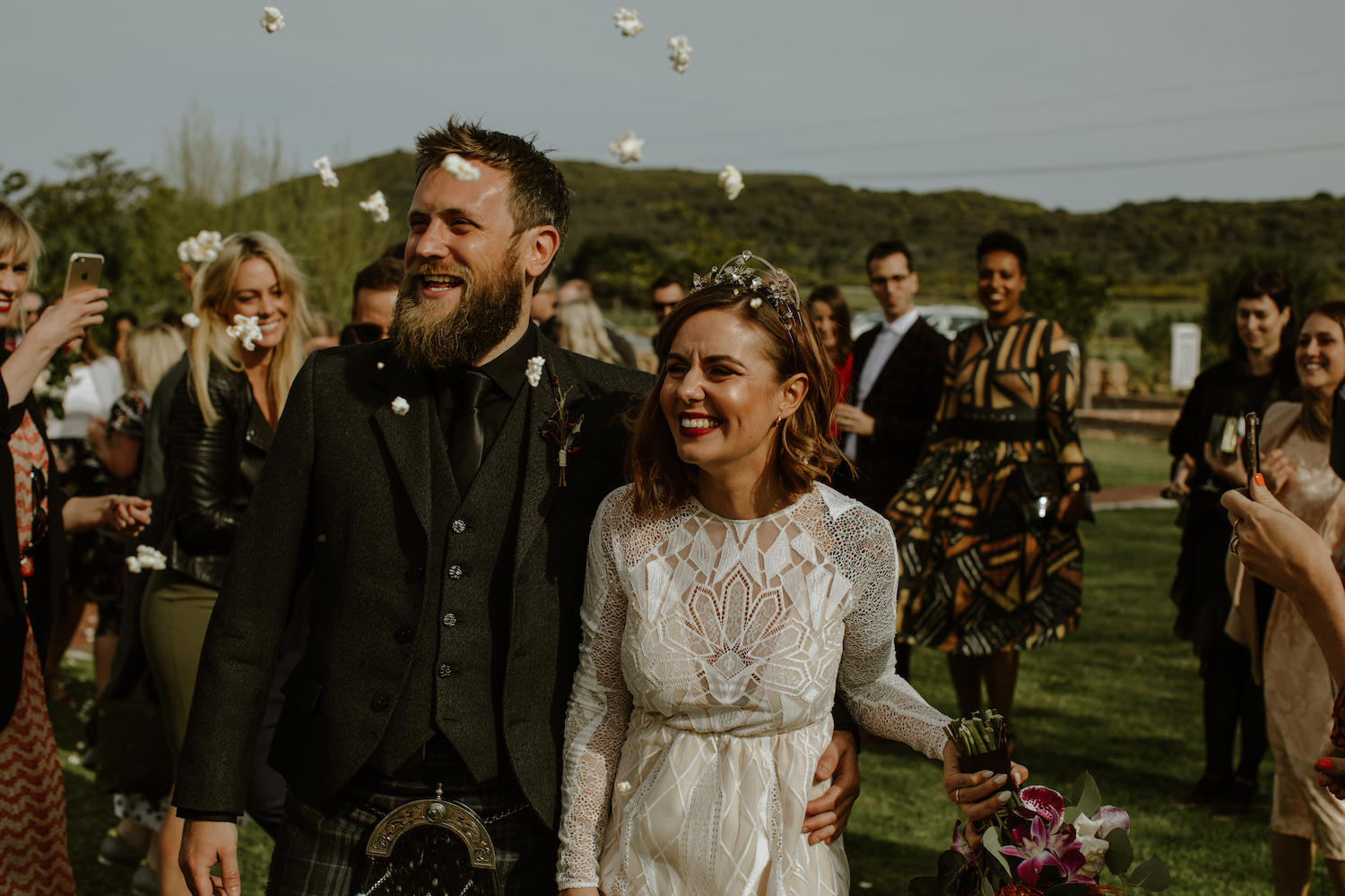 Beautiful bride Michelle wore a crown by Tilly Thomas Lux for her wedding day