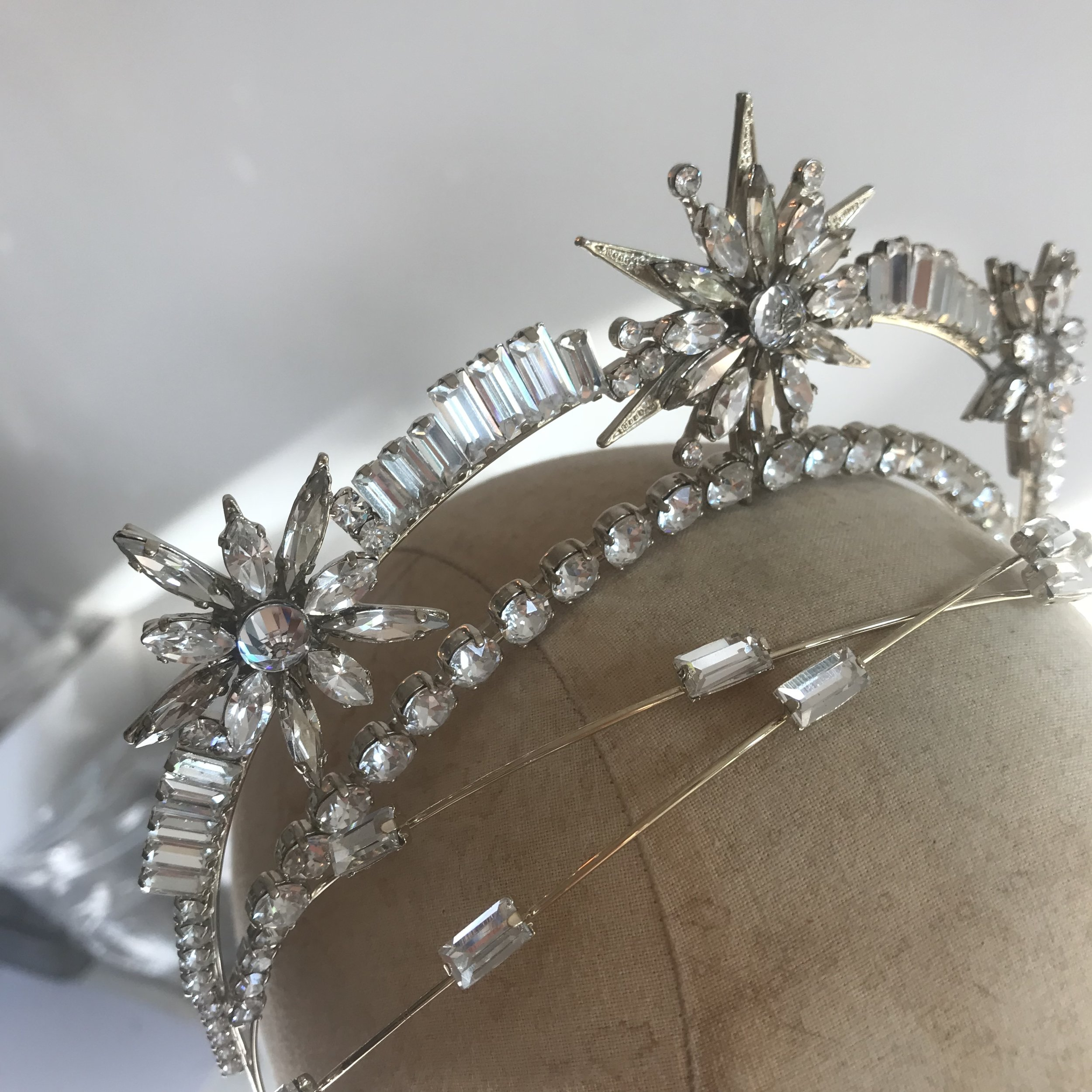A finished Tilly Thomas Lux bespoke crown with Swarovski crystals