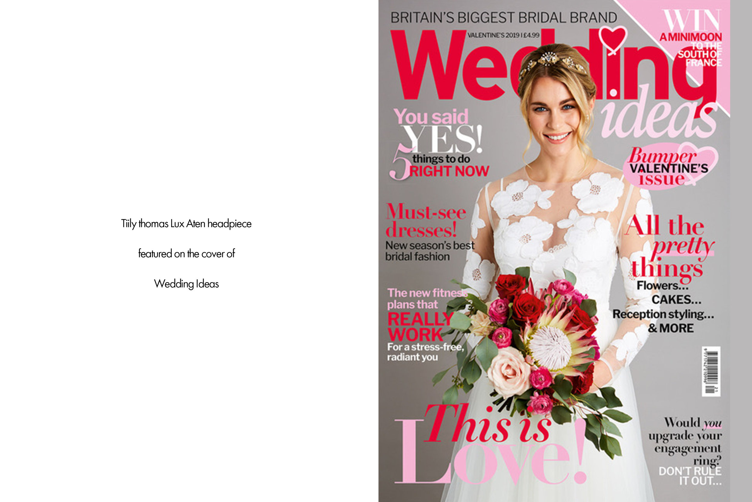 Tilly Thomas Lux Aten headpiece featured on the cover of Wedding Ideas Magazine