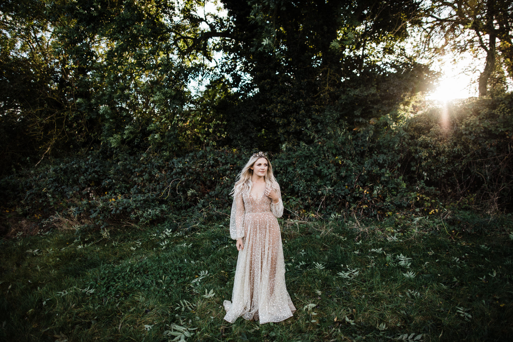 A Stunning Chosen By One Day Wedding Dress and a Bespoke Tilly Thomas Lux Crown for a Lyde Court Wedding | Image by Through the Woods We Ran