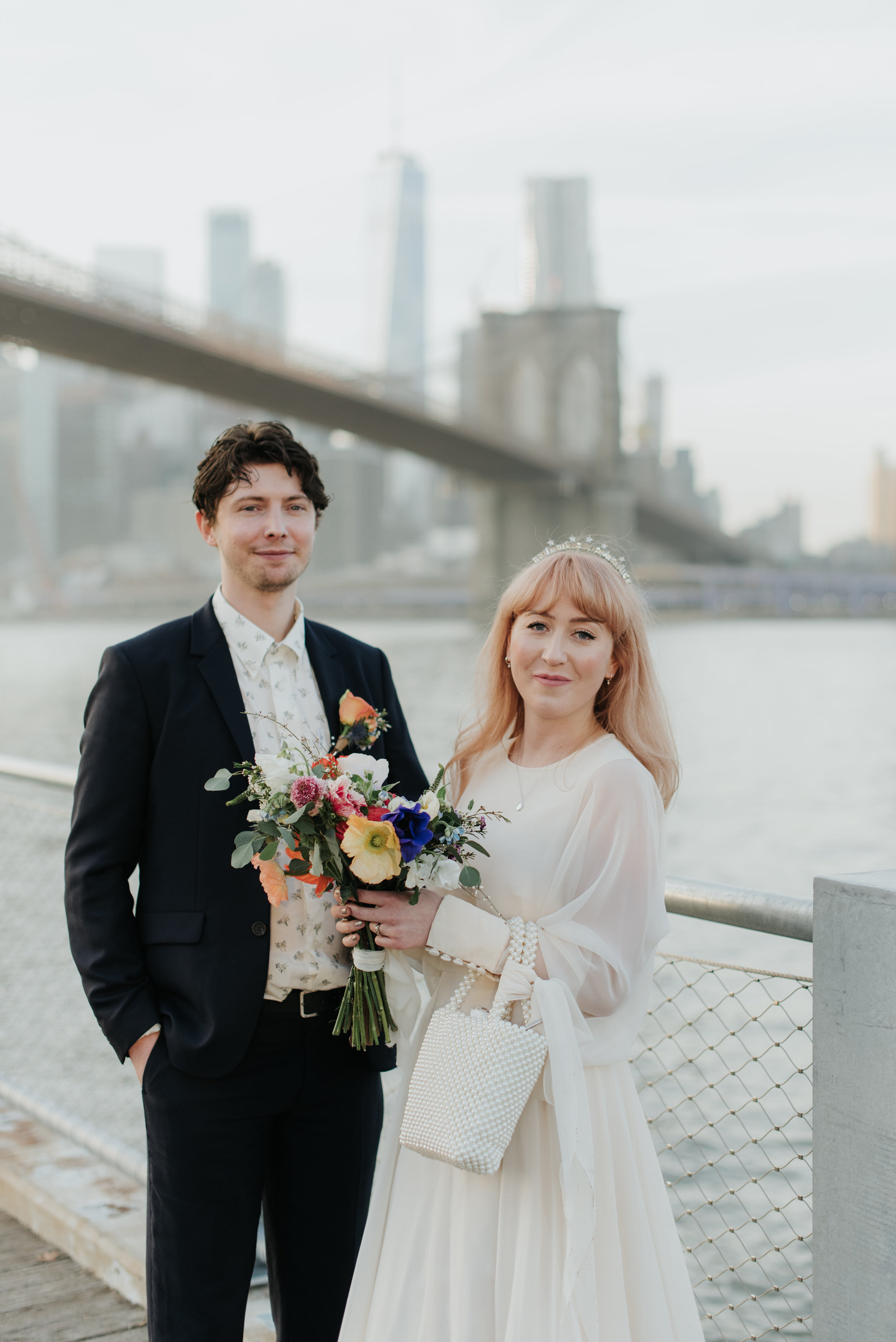 A Tilly Thomas Lux Celestia crown for a laid-back Dumbo, Brooklyn wedding
