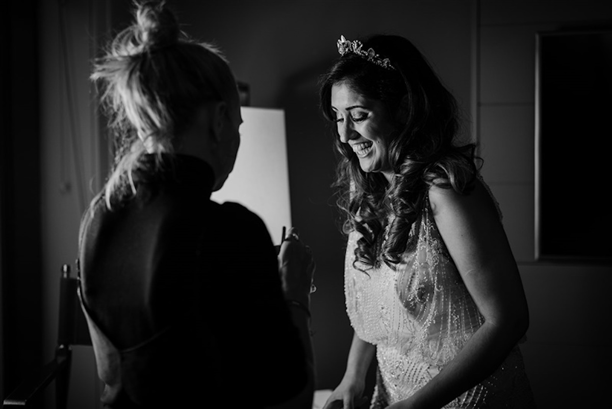 A Beaded Wedding Dress and Tilly Thomas Lux Oceania Crown for a City Wedding   Image by The Curries