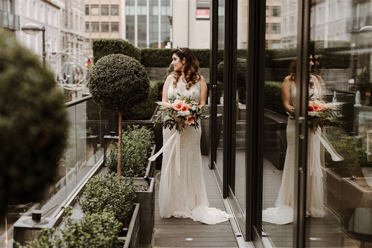 A Beaded Wedding Dress and Tilly Thomas Lux Oceania Crown for a City Wedding