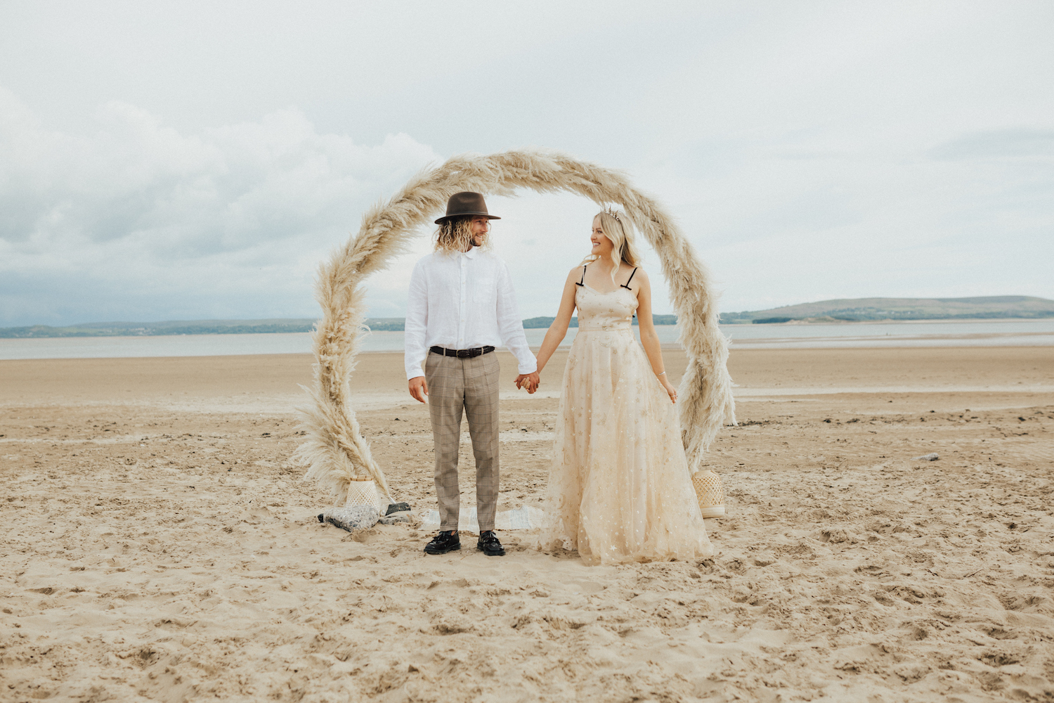 Celestial Beach Shoot Featuring a Tilly Thomas Lux Celopatra Crown & Maia Star Hairpins