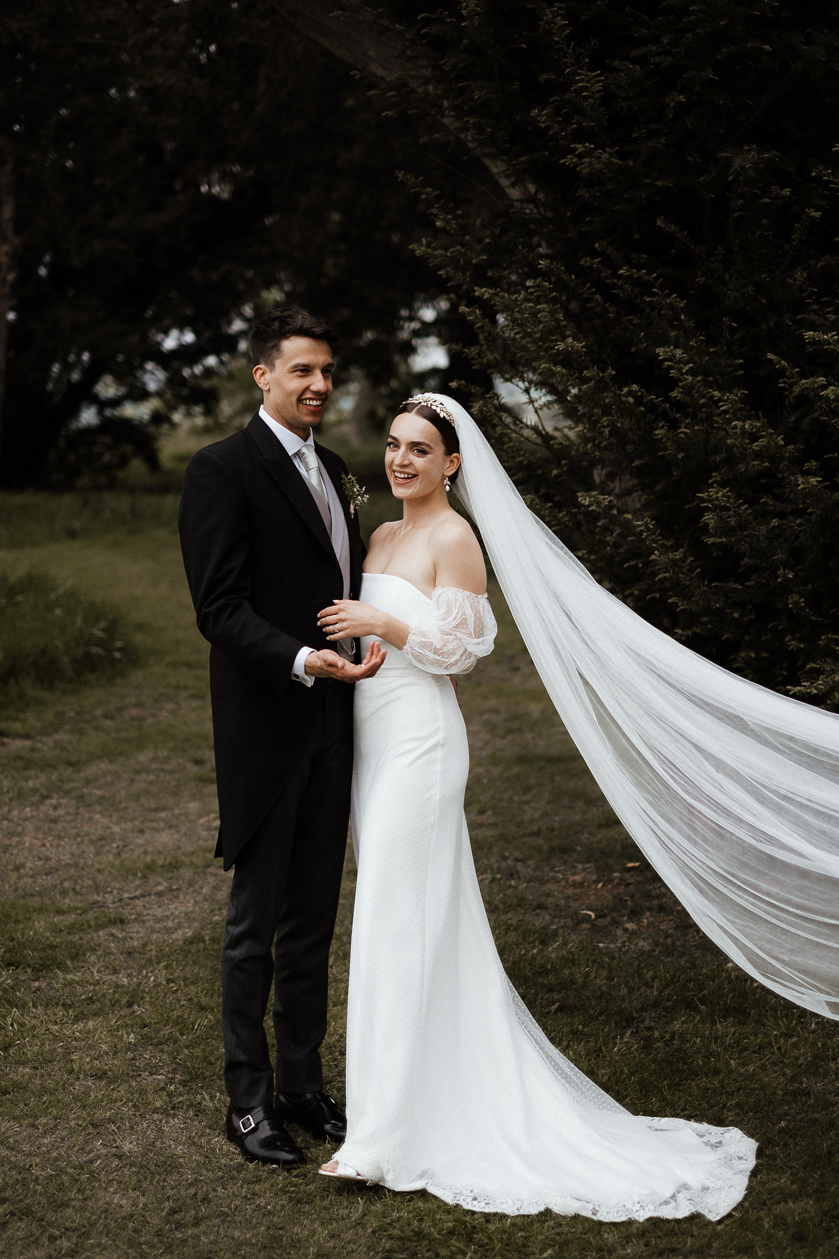 Chic Halfpenny London separates with statement sleeves and a bespoke leafy Tilly Thomas Lux crown for a fashion forward bride