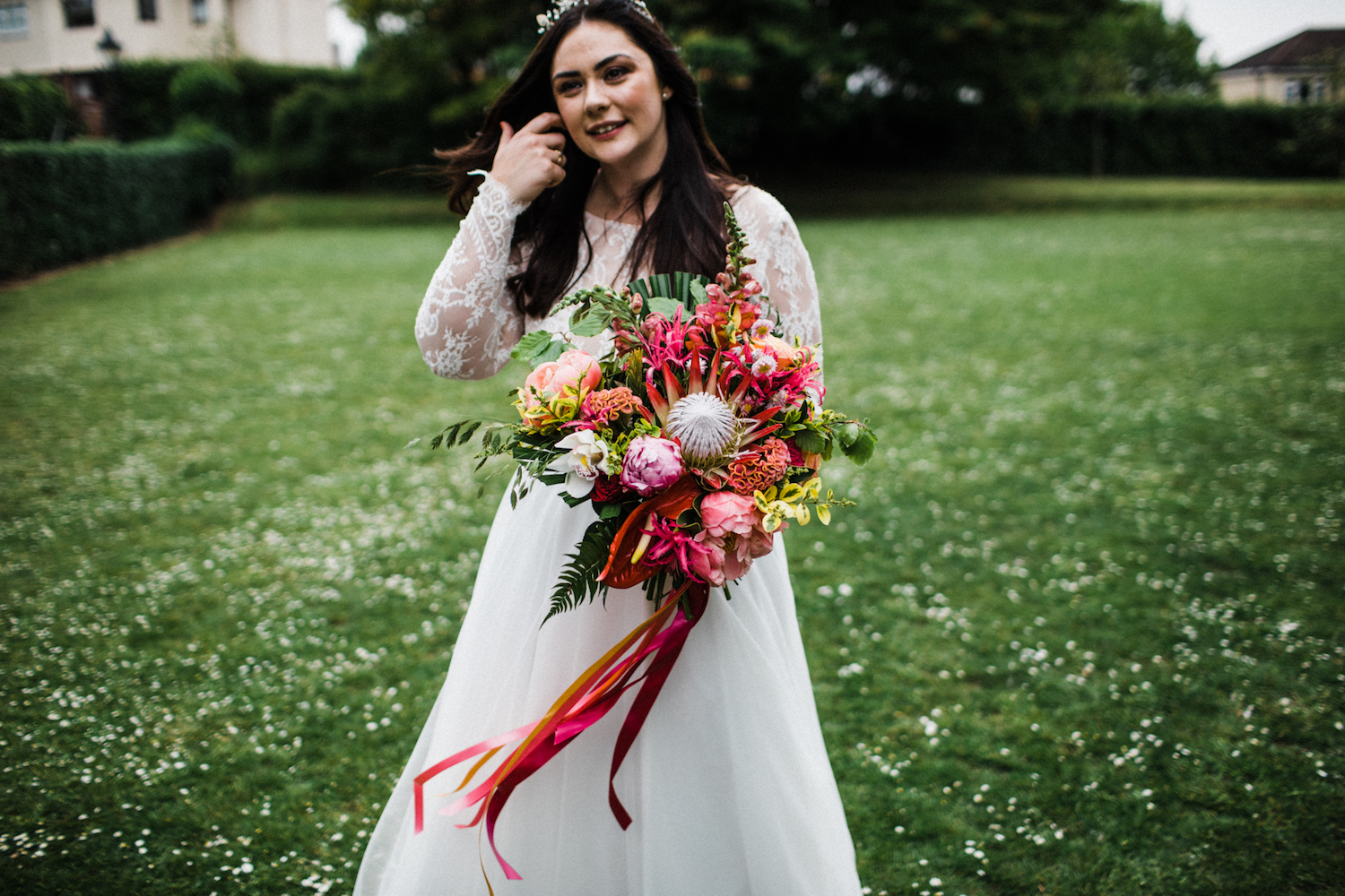 Stunning Bridal Separates, bright florals and a Tilly Thomas Lux Oceania crown for a beautiful wedding