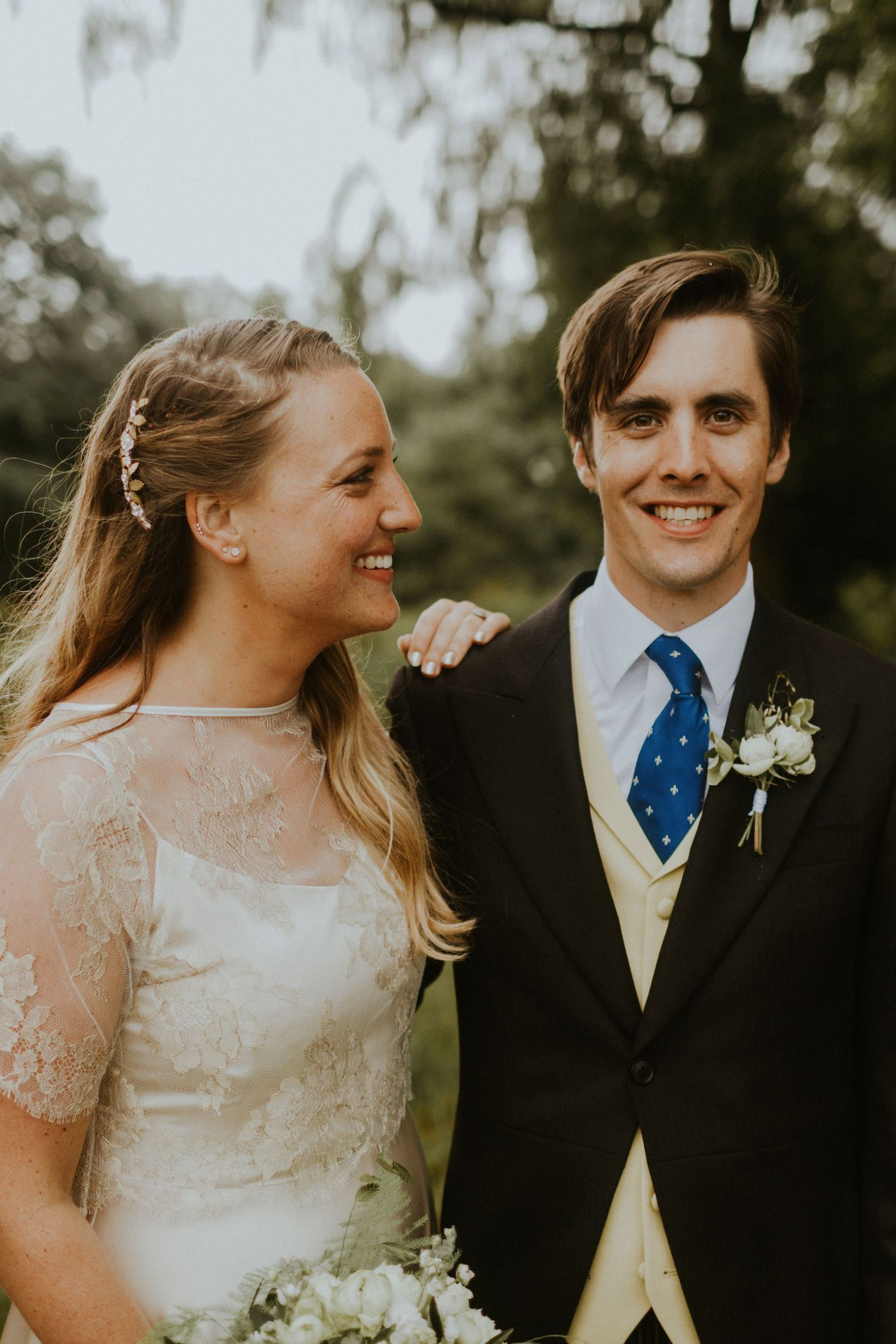 Blush Halfpenny London separates and Tilly Thomas Lux Amy Leaf Combs for a Church Wedding