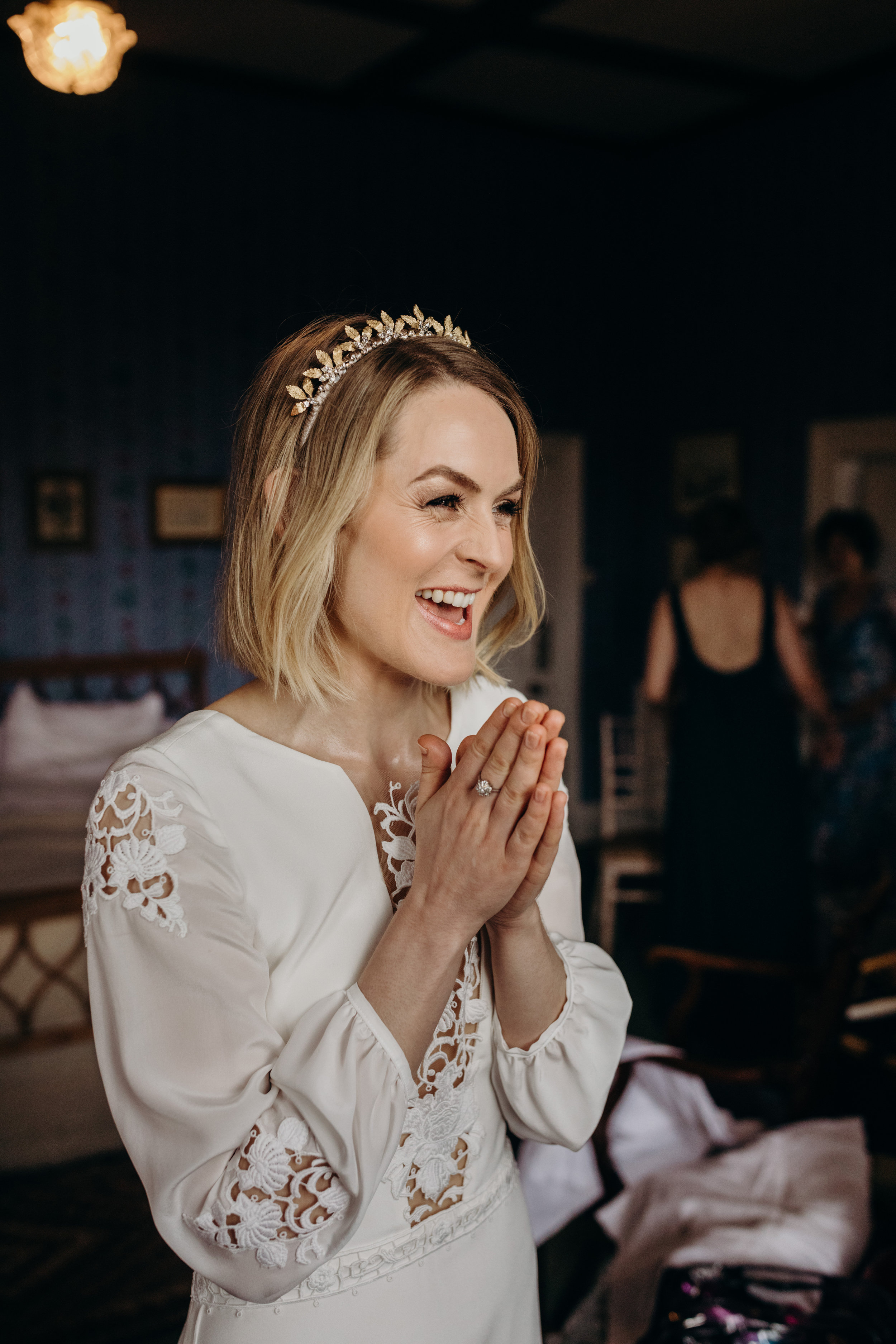 Bespoke Leafy Tilly Thomas Lux crown and a Wedding dress with Sleeves and Lace for a gorgeous bride