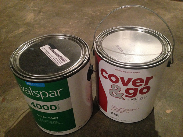 "The labelled Valspar 4000 base is the ""Jet Black"". The ""Cover & Go"" is the flat white base."