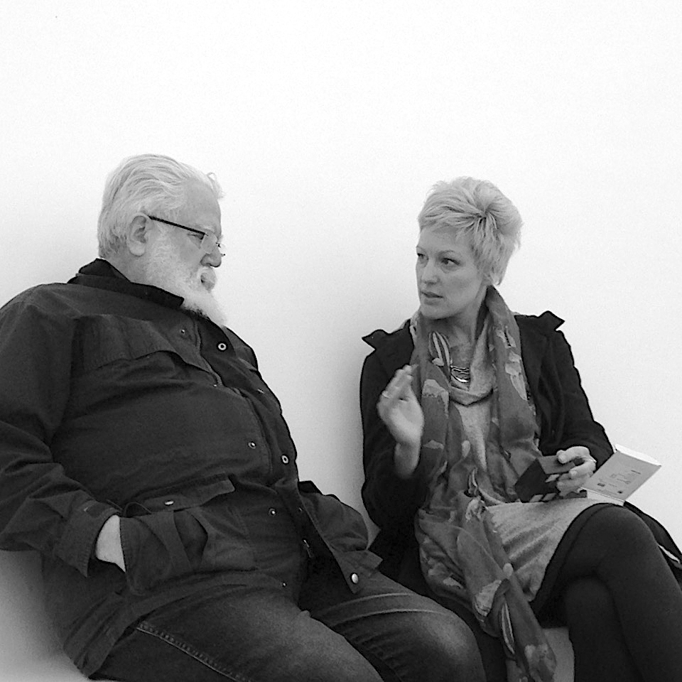 James Turrell and Eleanor Bell discussing lighting for Skyspace at Tremenheere, Cornwall