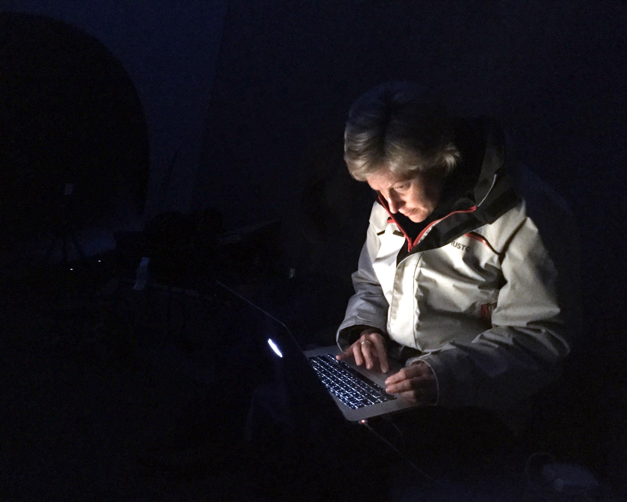 Eleanor Bell, testing lighting for James Turrell Skyspace, Kielder