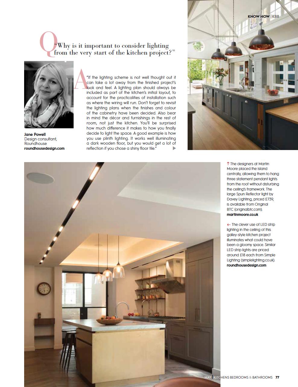 Eleanor Bell Kitchens, Bedrooms & Bathrooms May 2018 Kitchen Lighting 2