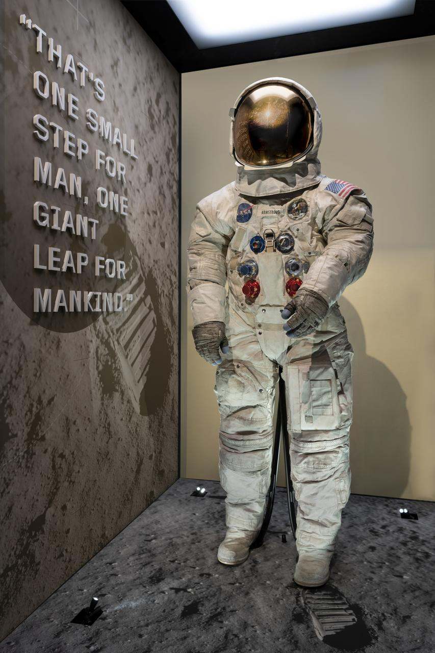 Neil Armstrong's Pressure Suit, A7-L, A19730040000, Apollo 11, that he wore to walk on the moon July 20, 1969 in its new display case in The Wright Brothers & the Invention of the Aerial Age Gallery of the National Air and Space Museum, July 12, 2019. (Smithsonian Air and Space Museum photo by Jim Preston) [20190712JP-0063] [NASM2019-03984]
