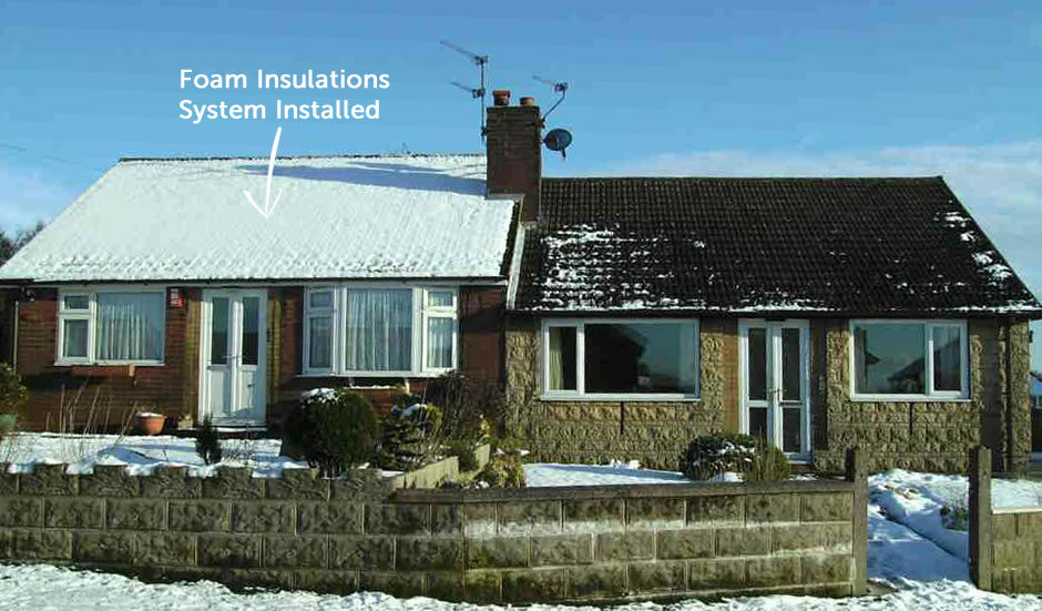Both these properties have fiberglass insulation however the property on the left has had the foam insulation installed. Because the heat has not escaped, the snow on the roof has not melted and the loft space is warm, dry, and clean.