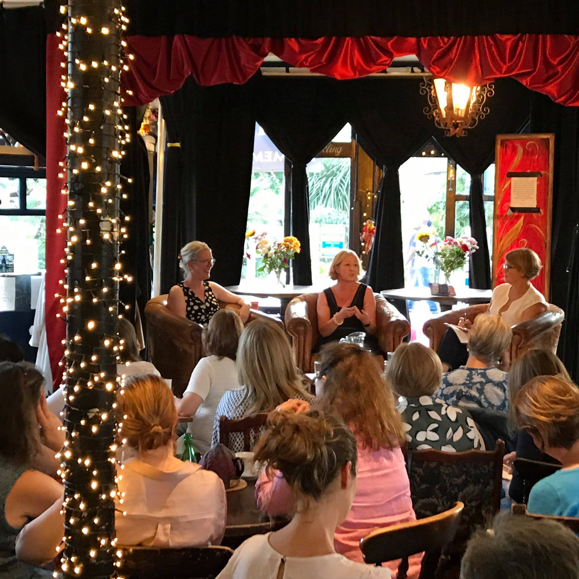 A typical summer Salon - this one with Jacqui Lofthouse, on Be Your Own Writing Coach