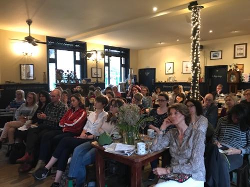 A full house for Kelliegh Greenberg-Jephcott in June's Salon on The Writer's Palette