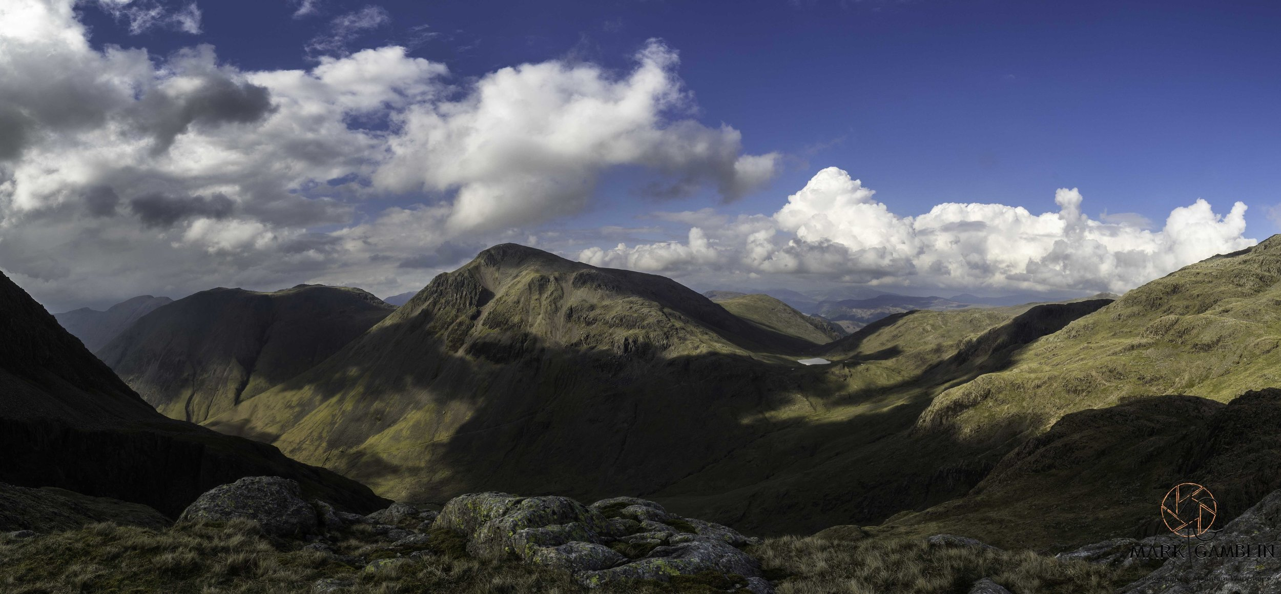 Panorama of Great Gable, Kirk Fell and Sty Head Tarn.