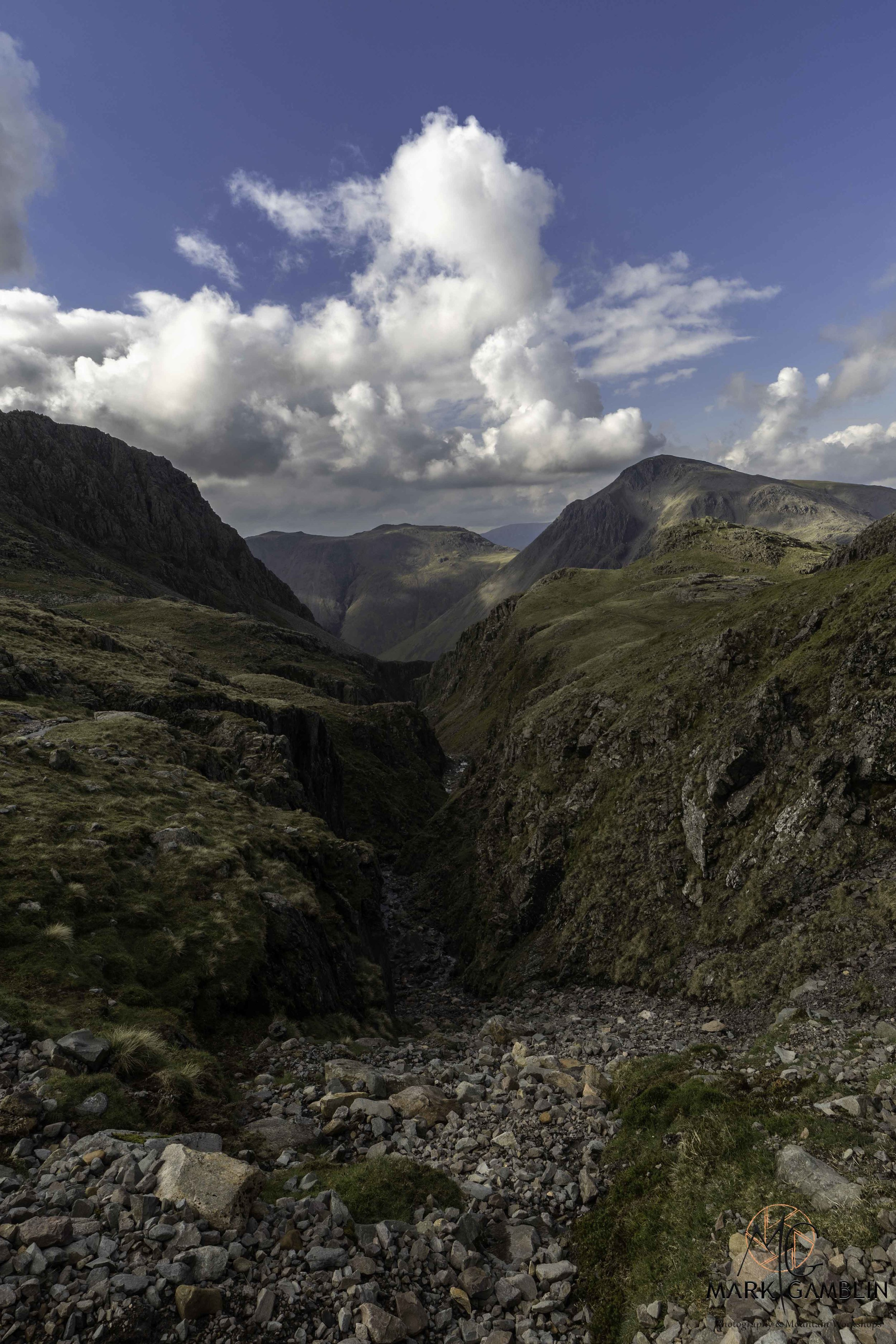 Looking down Piers Gill with Kirk Fell center and Great Gable on the right.