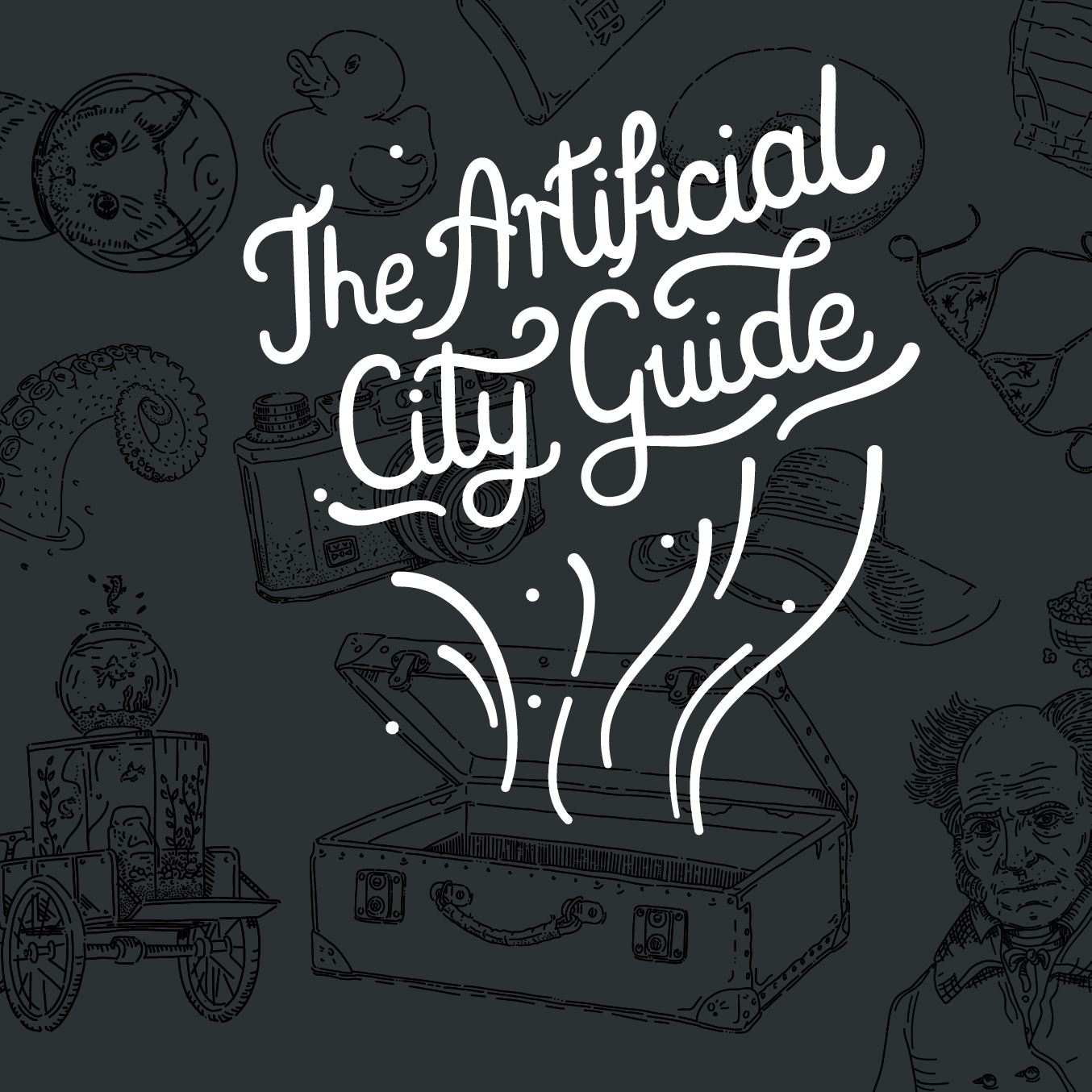 Guide Book Illustrations - Client: The ArtificialFor The Artificial's holiday gift in 2017 we decided to focus on the diversity of our international group and make a travel guide with the cities we lived in. Each one of us described one city and togehter we designed the layout, drew the illustrations, and chose photos from our personal archives. I had the pleasure to letter the title for book's cover. Apart from being a physical book, our guide is also available online: theartificial.com/cityguide/
