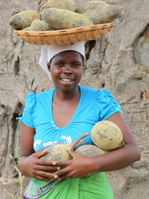 A wild Baobab fruit collector from Zimbabwe. Photo: B'Ayoba