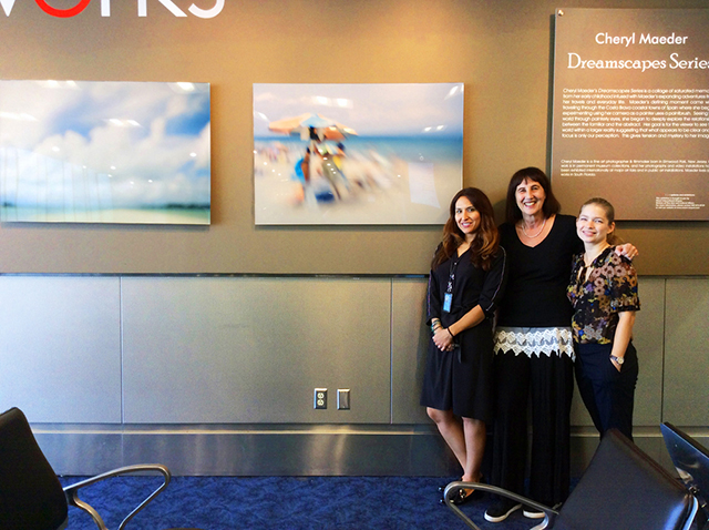 Cheryl Maeder with Gendry Sherer Public Art & Community Outreach Coordinator, Fine Arts & Cultural Affairs & Claudia Andonie (Solo Exhibition,  Dreamscapes Photographs  at Miami International Airport, Cameraworks Gallery,September 2016 – March 2017)