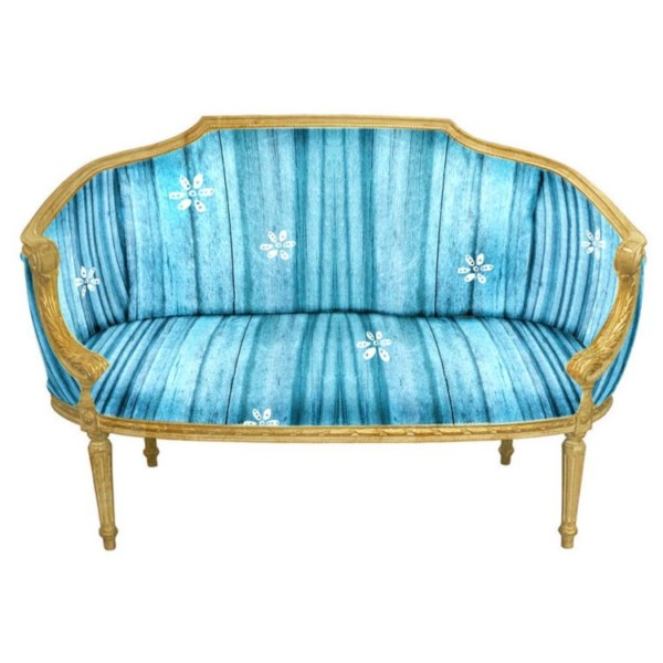 Gold Settee Teal