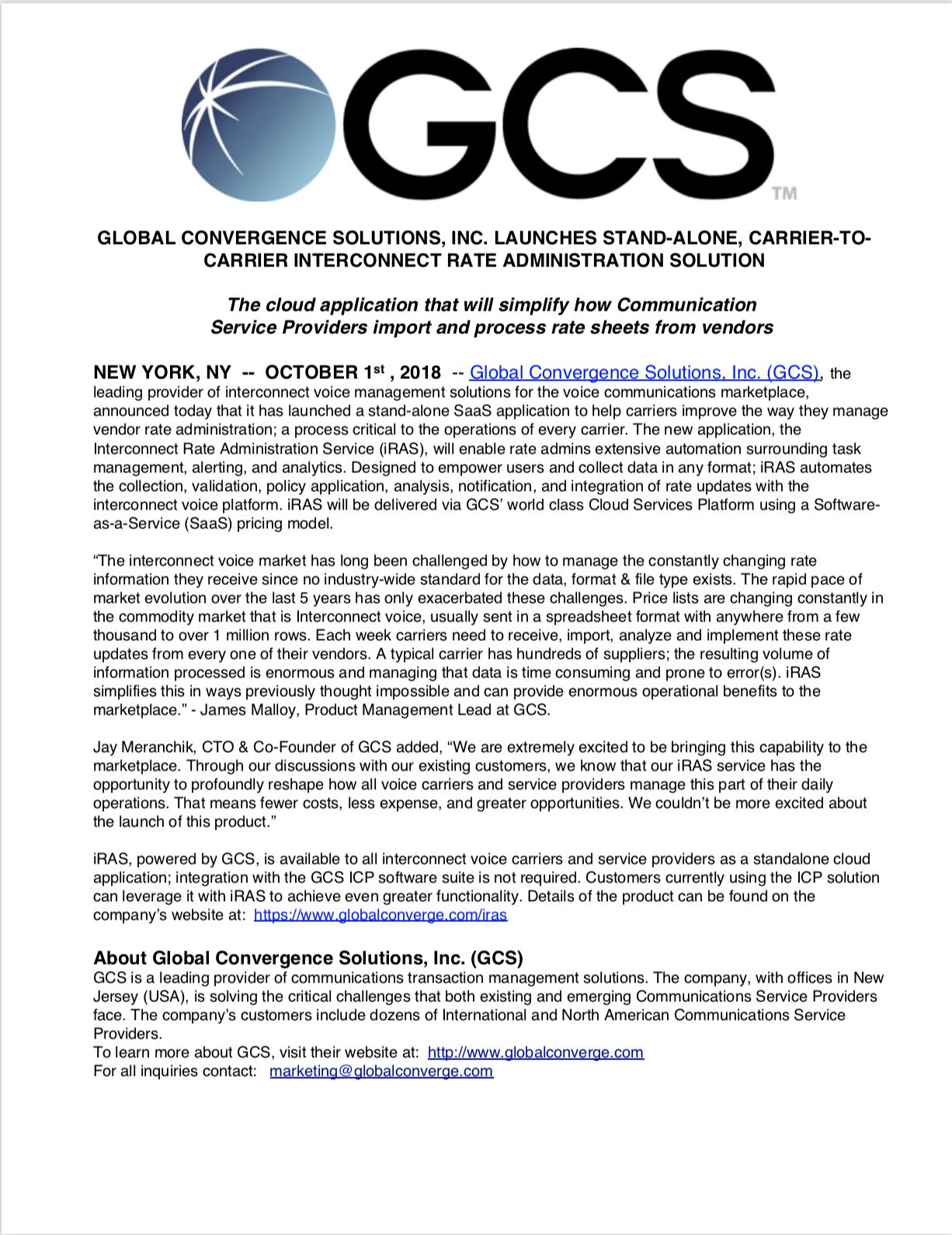 iRAS Press Release