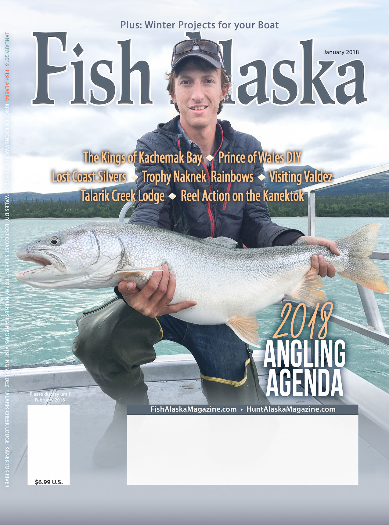 Talarik Creek Lodge owner Erik Salitan with a massive Lake Trout, featured in  Fish Alaska's January 2018 issue .