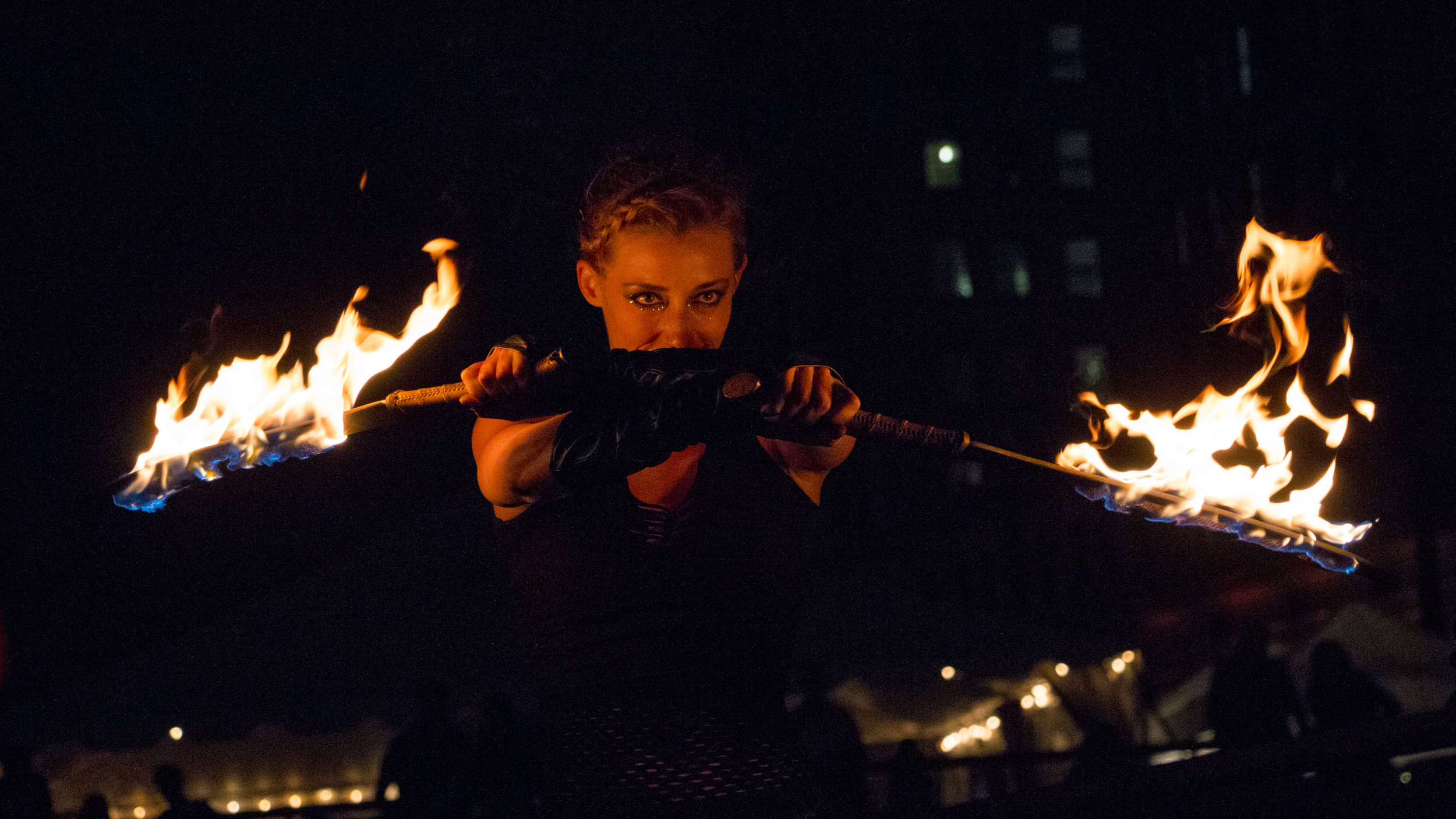 Fire Performers - Book our most badass flow artists! Fire spectacles dress up outdoor evening events, fantasy themes, masquerades, carnivals, fire and ice galas, and more.Photo courtesy of Drew Christhilf