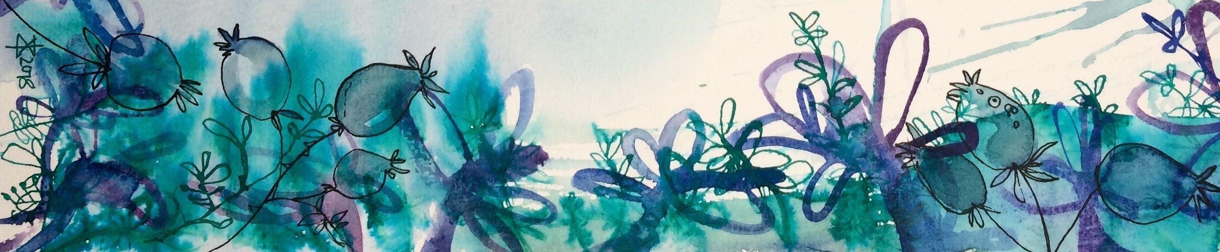 botanical fantasy in turquoise