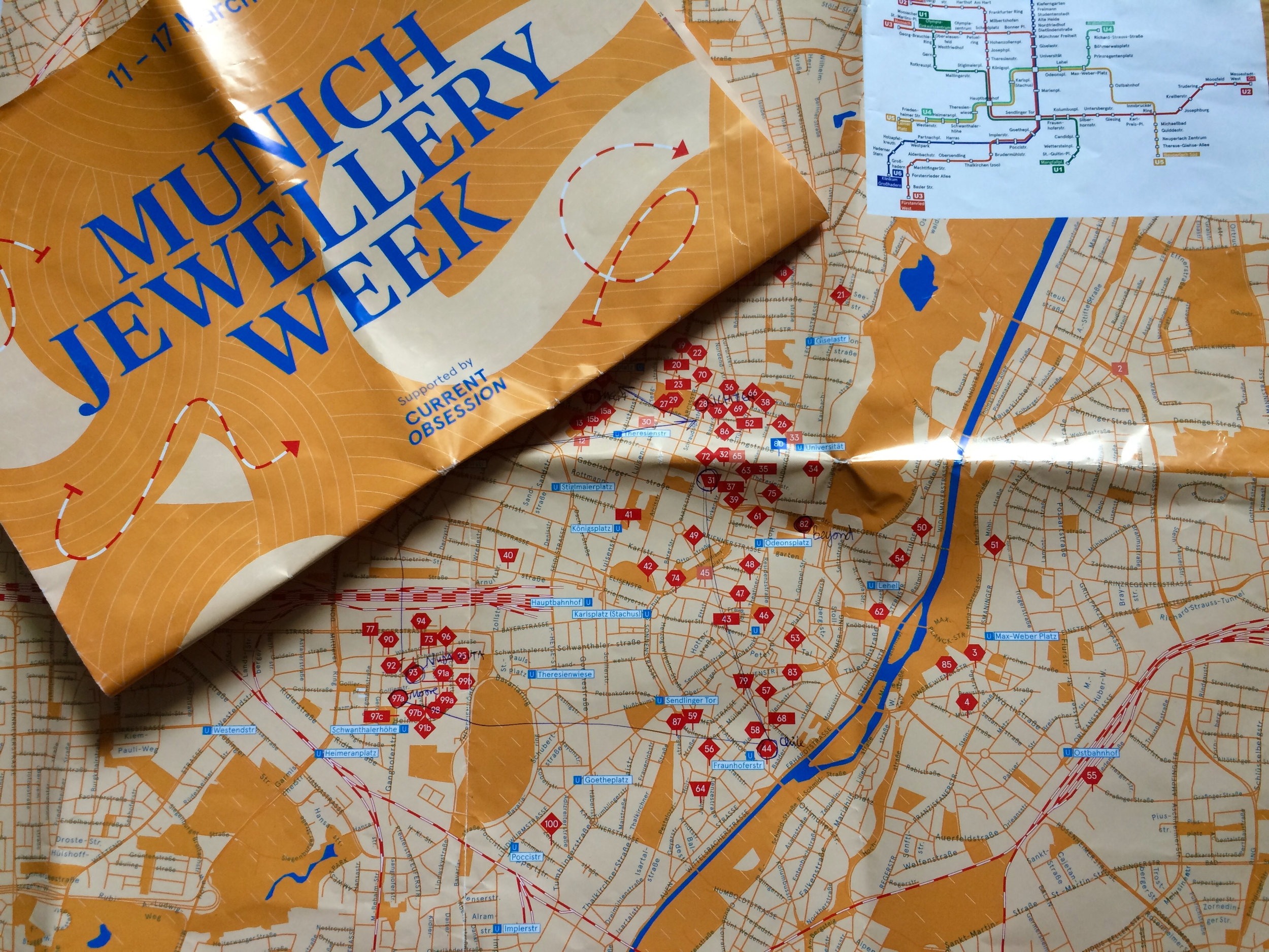 Current Obsession map of all the different locations at Munich Jewellery Week, and my constant companion. It's really quite impossible to see everything.
