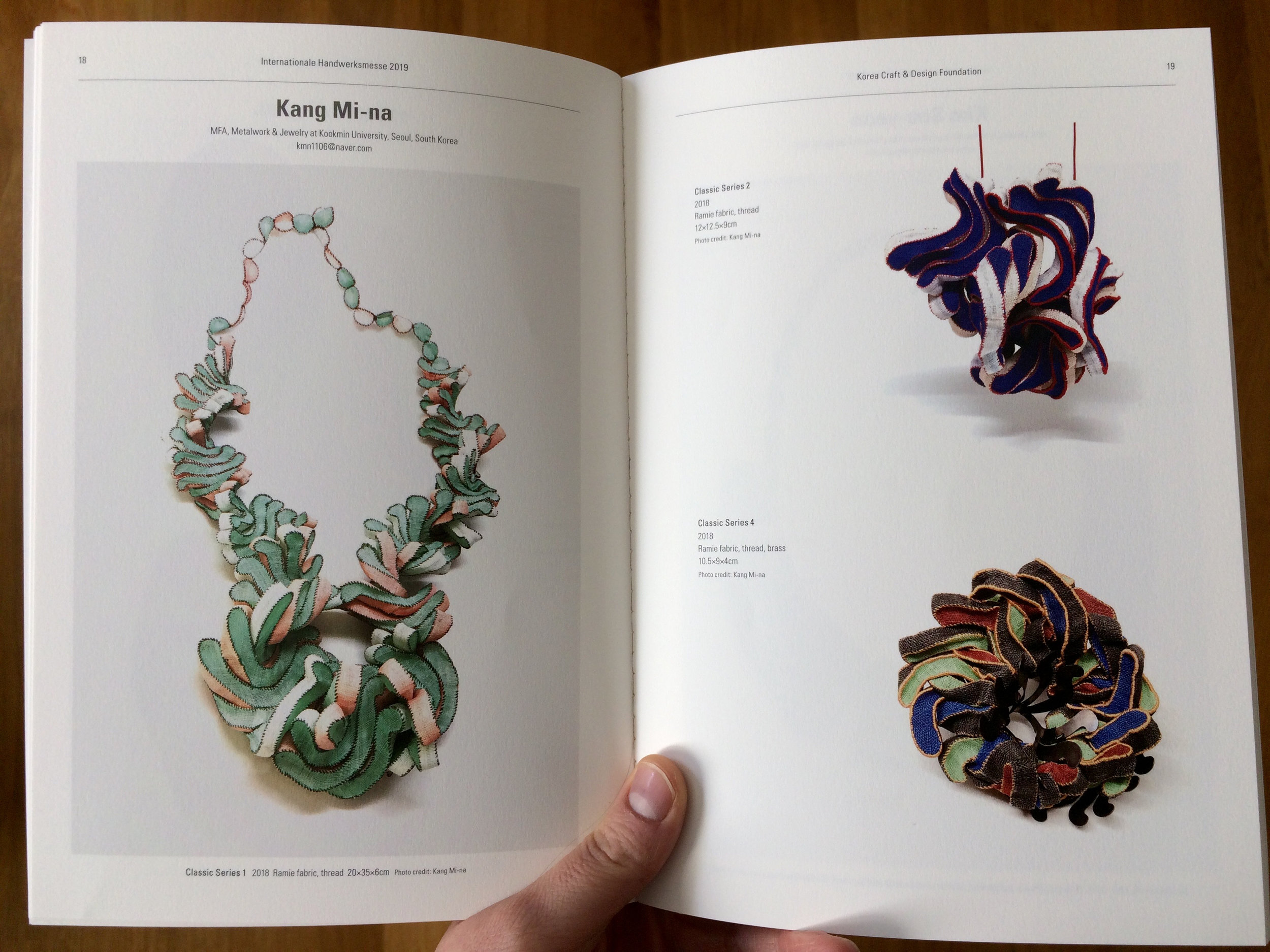 A colour catalogue of the Korea Craft & Design Foundation display at Munich Jewellery Week 2019.