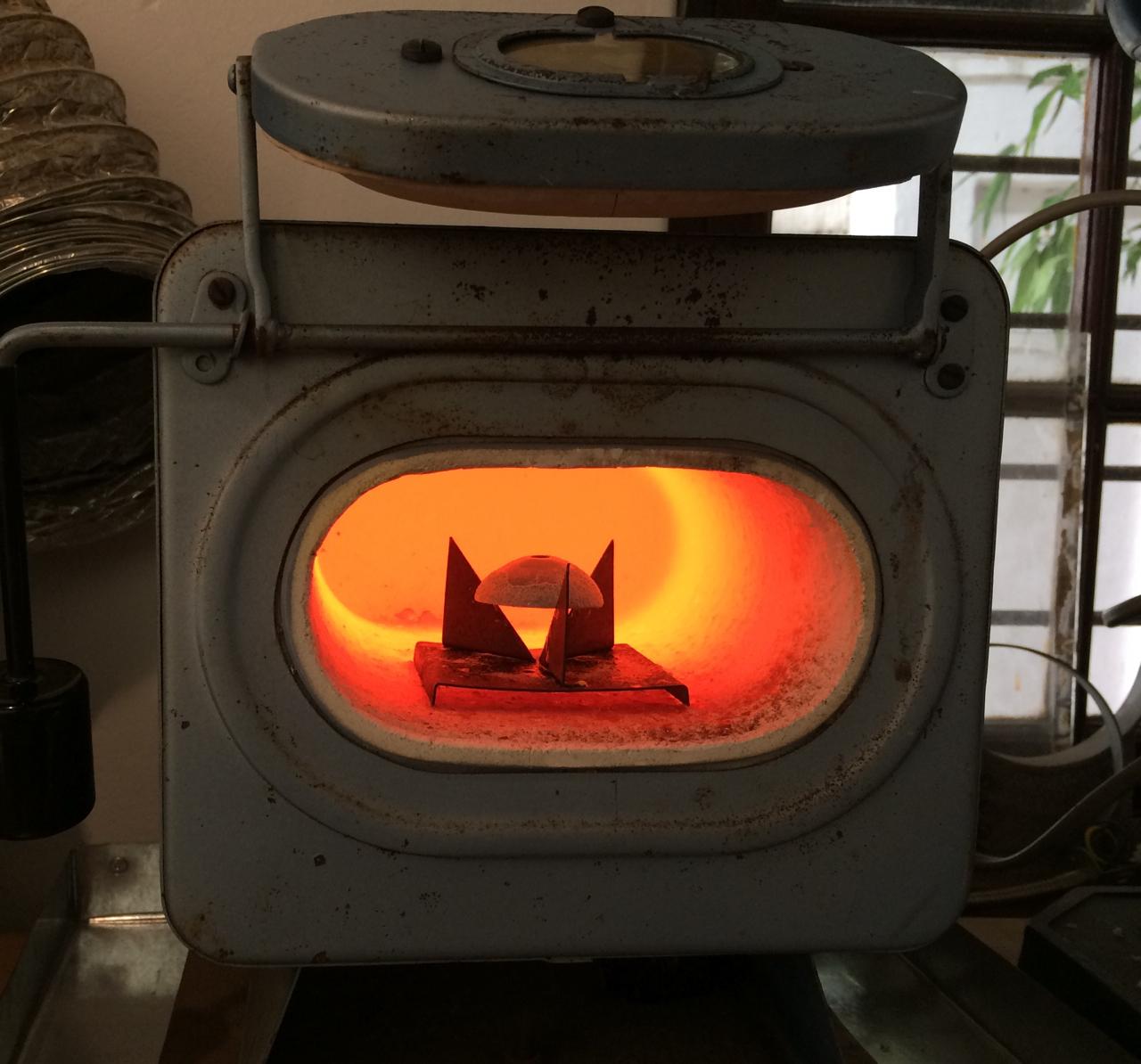 A kiln, glowing hot.