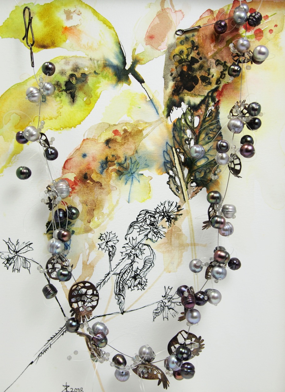 I will be showing contemporary jewellery accompanied by watercolour and ink paintings that attempt to capture a dream-like, paradisiacal space within nature.