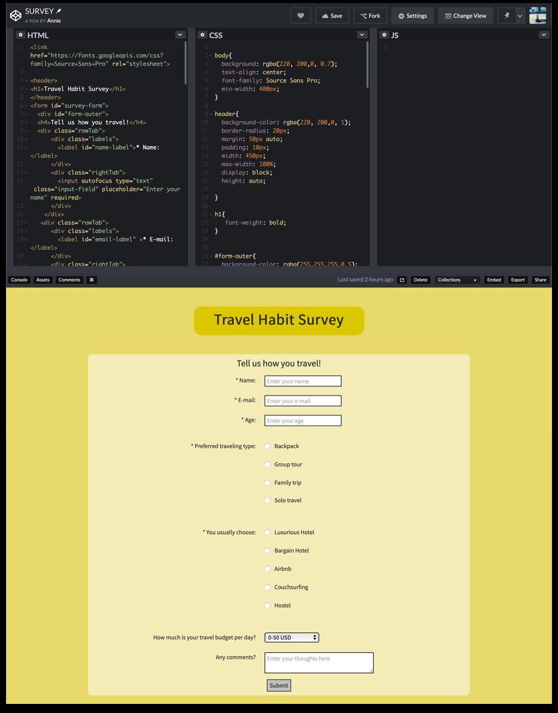 Front-end Coding — Hsinyu Yang