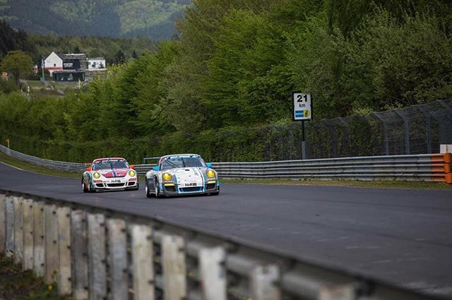 One of my favorite pictures so far at the Nürburgring during a VLN race of these two Porsche's flat out on the straight.