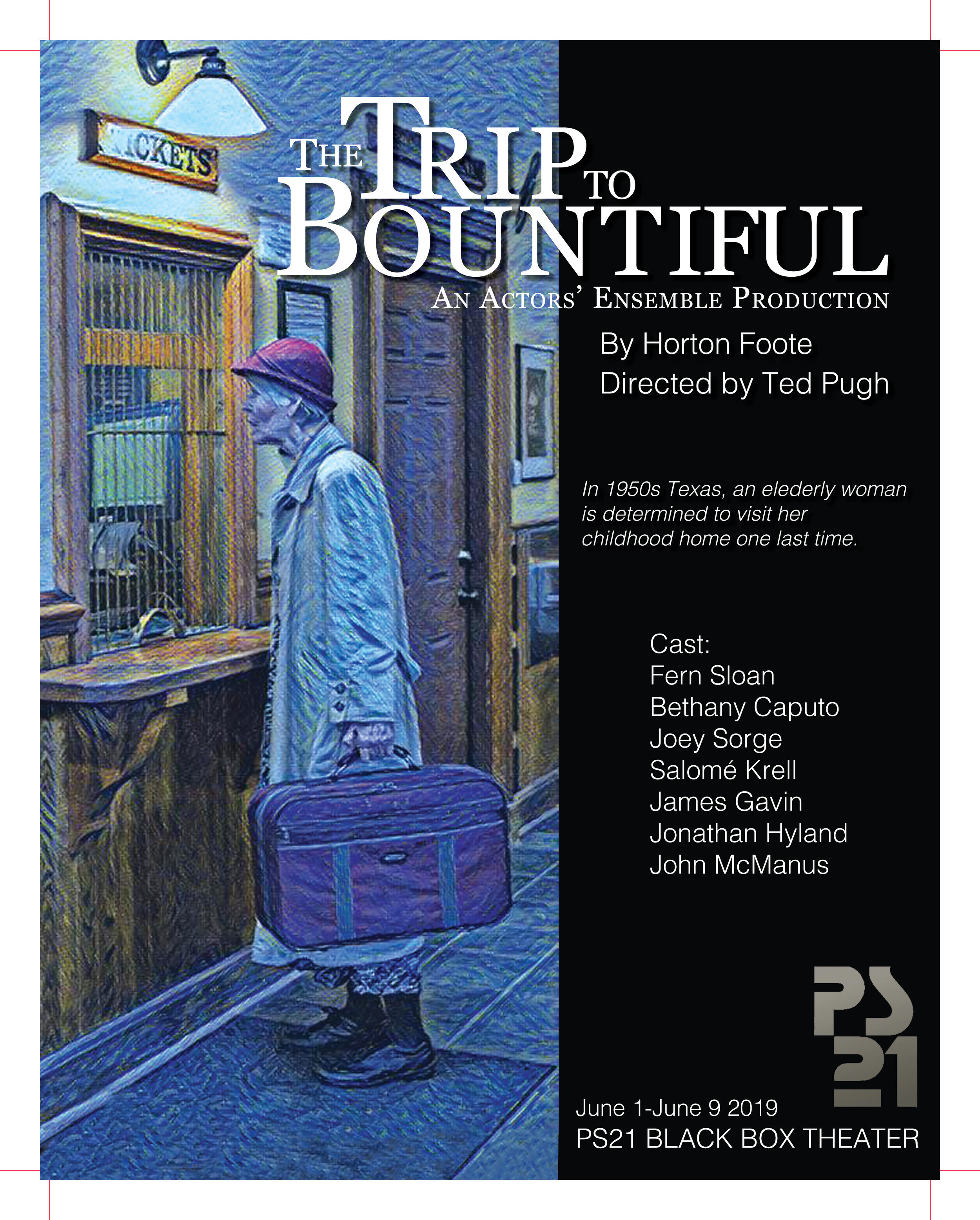 "the trip to bountiful - ""Without a single misstep, Sloan moves relentlessly forward, refusing to be held back by age, illness or the tragic tale itself, tragic only because the inevitable is always before us and before Carrie's attempt to realize her 20-year-old dream. This is a play about a sense of mission, and the clarity that she and the company bring to it is unparalleled. You don't care that it takes two and a half hours; in fact, you hate the fact that it's over—that is great theater, folks.""-The Berkshire Edge"