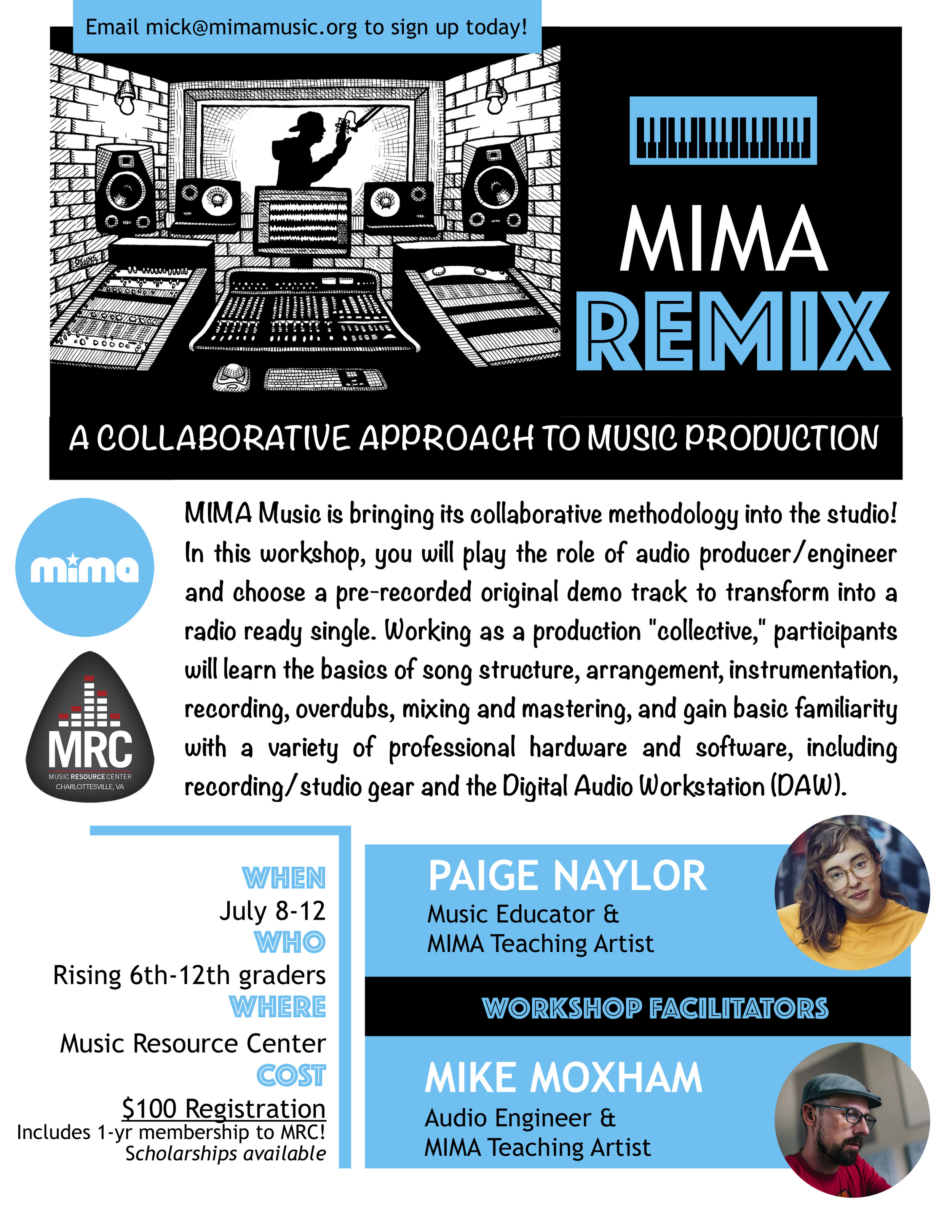 """MIMA REMIX"" SUMMER CAMP - @MUSIC RESOURCE CENTERJULY 8-12, M-F, 10am - 12:30pm$100 Registration includes 1-yr membership to MRC! Scholarships available!"