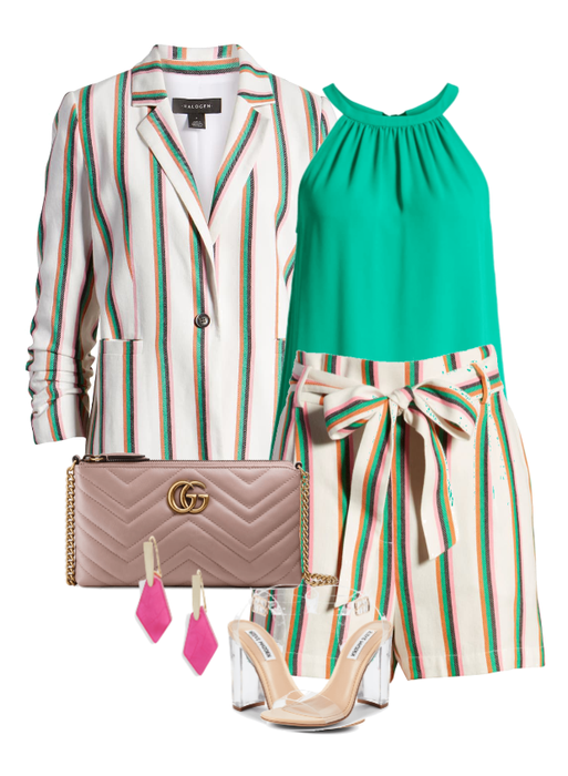 Summer Stripe- Short Suit - Have a million places to go and nothing to wear? This stripe on stripe paperbag short suit is perfect for any occasion. Dress it up or keep it casual. Shop the Look!