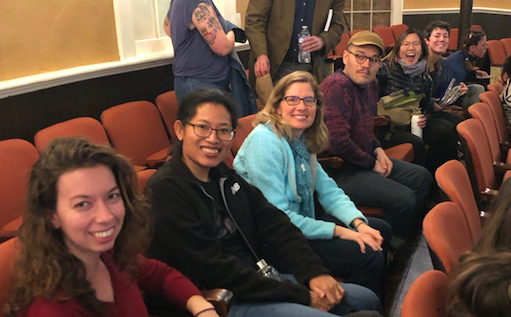 Image: Students in the spring 2019 seminar attending the   Below Baldwin   documentary film screening and community discussion. This was a time for us to meet outside of class to hear community and faculty concerns about UGA's handling of human remains, likely enslaved people, found on campus.